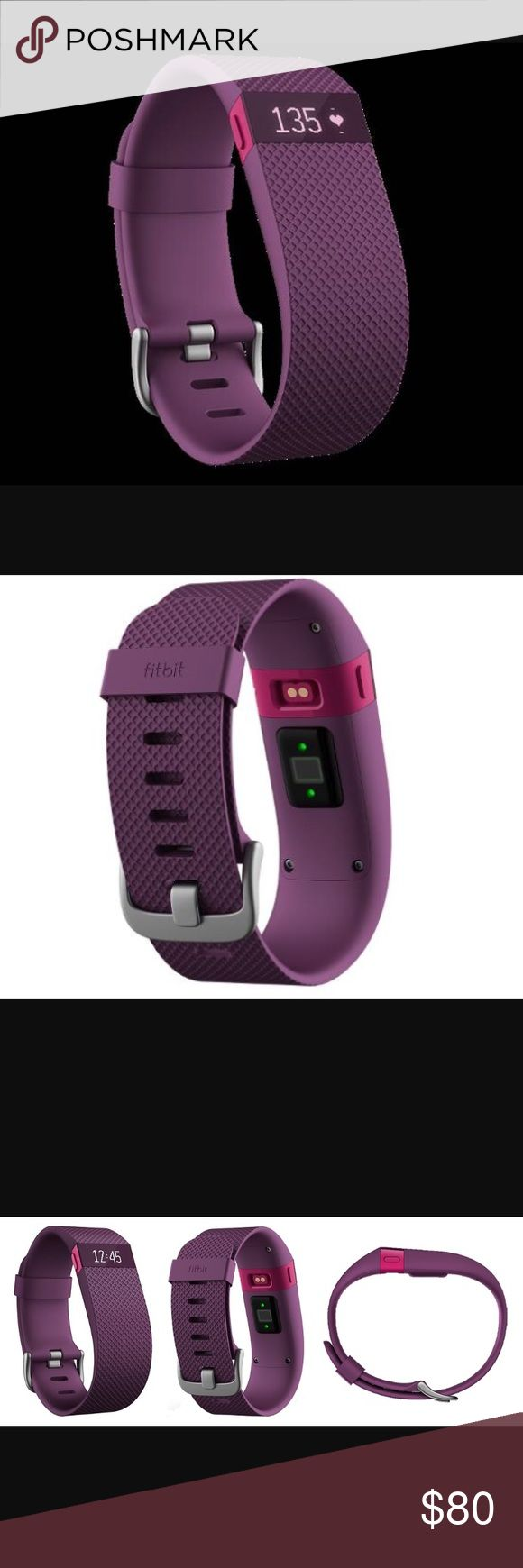 Fitbit Charge HR Fitbit Charge HR size large, deep purple.  This is brand new never been worn, comes with charging cable and program toggle.  Heart rate monitor, exercise tracking, pop-up caller if if synced to your smart phone.  Comes in Fitbit's replacement packaging (I damaged my original and they replaced it within the 1 year warranty!  I decided to go with the new Alta model so I'm selling this replacement.). Priced very competitively to sell!  Price is Firm 😉! Fitbit Accessories…