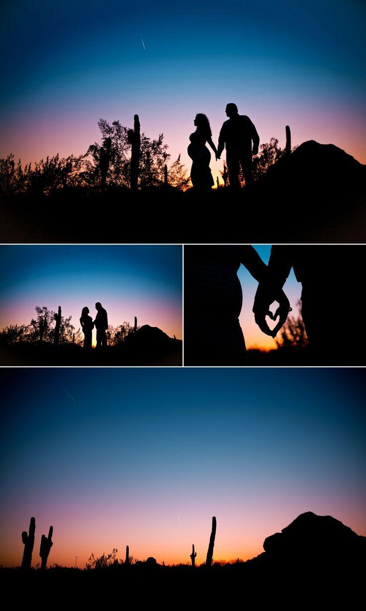 Maternity Session   Desert Botanical Garden EOL Photography   602.320.4445   Arizona Silhouette sunset