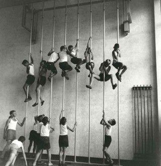 Aux cours de gym, on montait à la corde lisse ou à la corde à noeuds jusqu'en haut du plafond du préau !