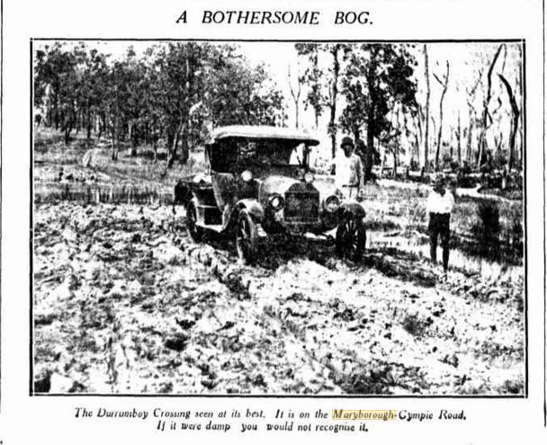 1932 The Duramboi Crossing on the Maryborough - Gympie Road If it were damp you would not recognise it.