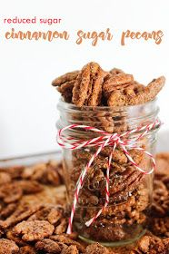 Reduced Sugar Cinnamon Sugar Pecans! The perfect topping for summer salads, soups, desserts, and snacking!
