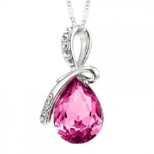 Teardrop Pink Crystal Pendant Necklace | eBay
