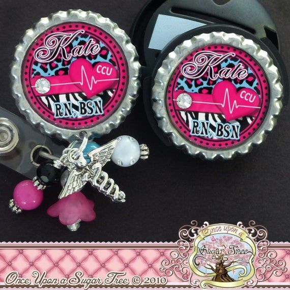 LEOPARD PRINT PERSONALIZED STETHOSCOPE ID TAG /& RETRACTABLE BADGE SET