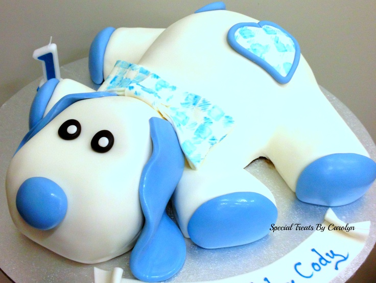 Sculptured cake of a little boy's favorite friend!  This looks just like Justin's little stuffed puppy!!!