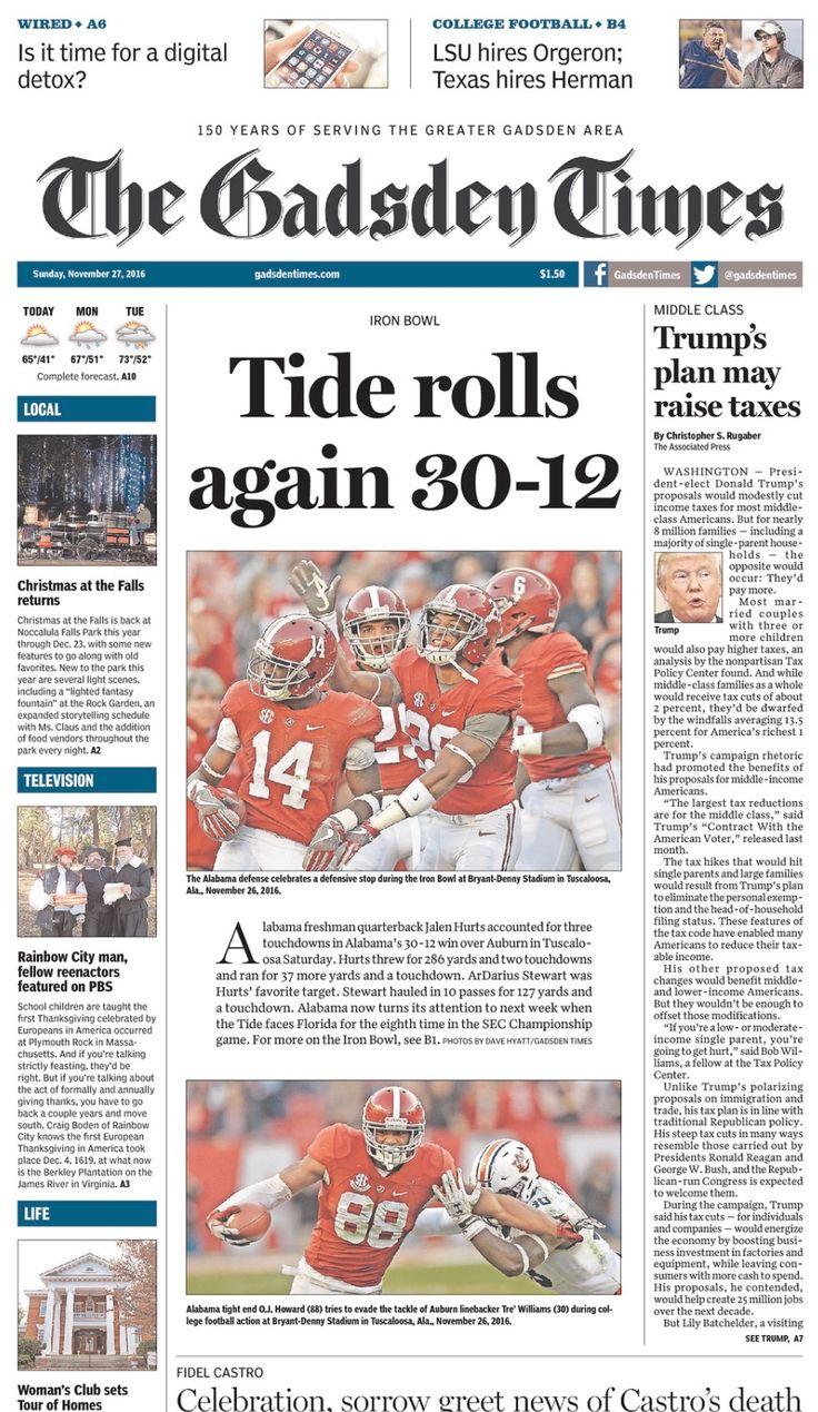 Iron Bowl 2016 Headlines from Sunday Nov. 27, 2016 - The Gadsden Times