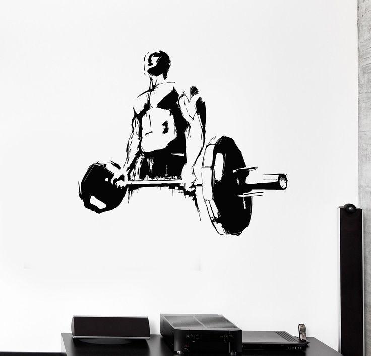 Наклейка на стену Качок Человек пауэрлифтингу Спорт Фитнес-центр виниловые наклейки IG2974 | eBay