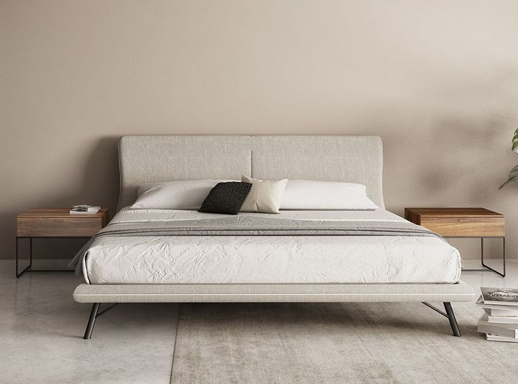 Surface Bed with Upholstered Extended Headboard by Huppe