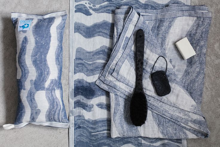 Aallonmurtaja, design by Reeta Ek, woven in Finland by Lapuan Kankurit. From each sold product a fixed sum goes to Clean Baltic Sea - project.