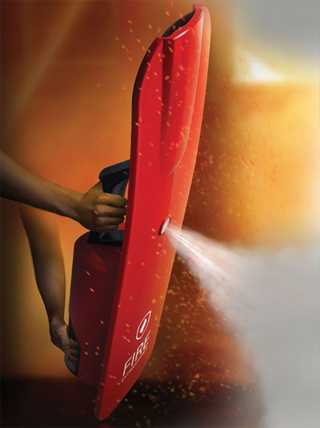 SHIELD EXTINGUISHER –When fighting a fire, you need all the protection you can get: the Shield Extinguisher imagined by Kim Junyoung and Lee Jimin is designed to make life easier for rescue workers. (reddot award 2014 - honourable mention)