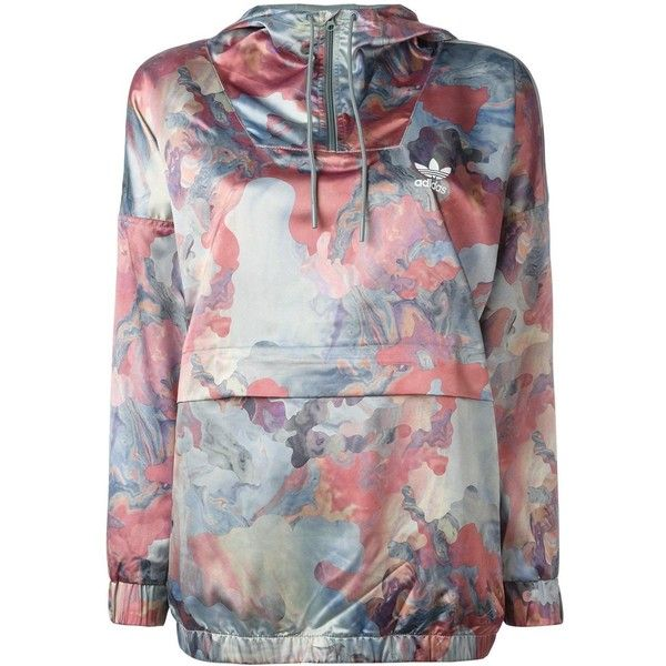 Adidas pastel camouflage print jacket ($110) ❤ liked on Polyvore featuring blue and adidas
