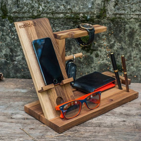 iPhone Table Idea for Dad Organizer Gifts Him Men Brother Stand Loading Wood Dock Glasses Dark Organize Man