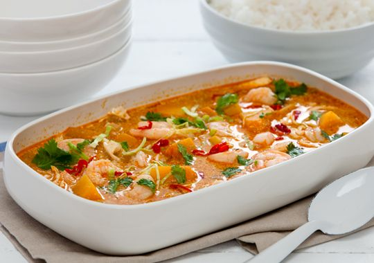Free thai red curry with pumpkin, cabbage