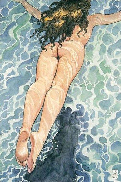 by Milo Manara, love the swirls of light on the skin