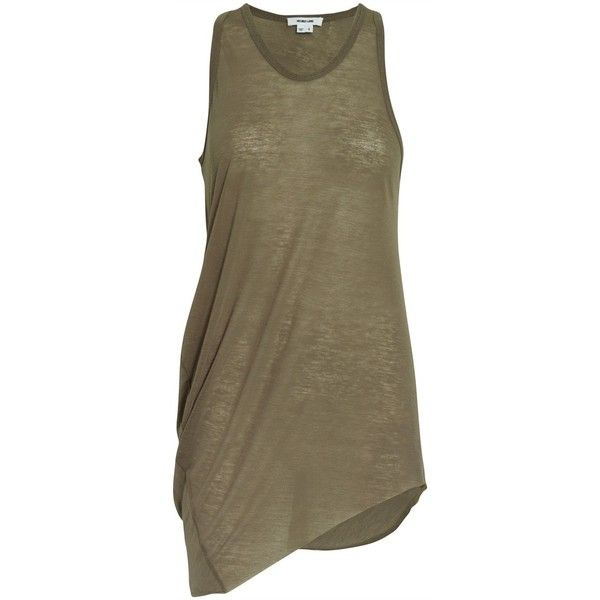 Helmut Lang Draped tank top ($40) ❤ liked on Polyvore featuring tops, shirts, dresses, tank tops, tanks, women, sleeveless shirts, v neck tank top, loose tank and army tank