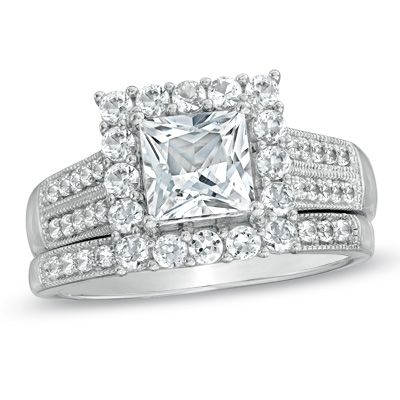 60mm princess cut lab created white sapphire frame bridal set in sterling silver - Zales Wedding Rings Sets