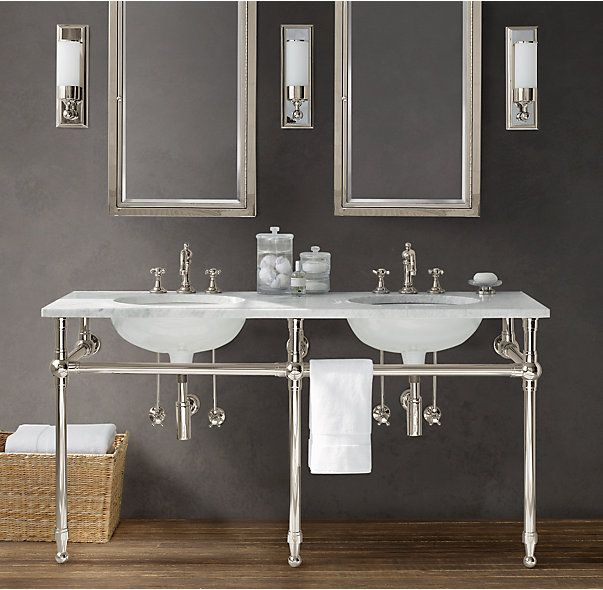 Gramercy double metal washstand sinks pinterest Double sink washstand