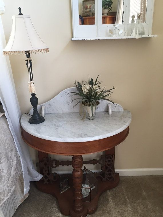 Marble Top Victorian Console Table  Demi Lune by InsideOutlet