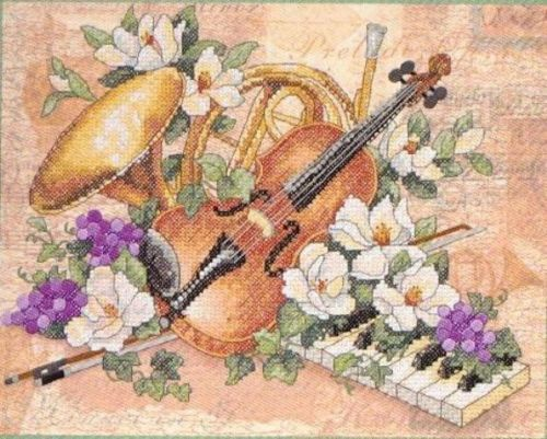 FLORAL HARMONY Piano Horn Violin Cross Stitch Kit NEW