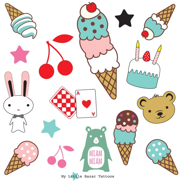 Ice cream summer set tatoo enfant  http://www.mylittlebazar.com/fr/tatouage-temporaire/2575-tatouage-temporaire-summer-.html