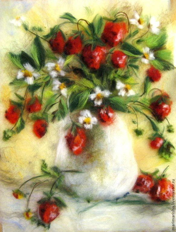 Картина из шерсти Сладкая ягодка - картина из шерсти,картины из шерсти