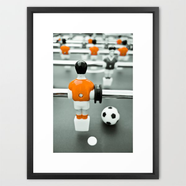 Table Football 02B - Defender | Orange Framed Art Print #netherlands #orange #oranje #naranja #knvb #tablefootball #foosball #kicker #soccer #tischfussball #blackpoolfc