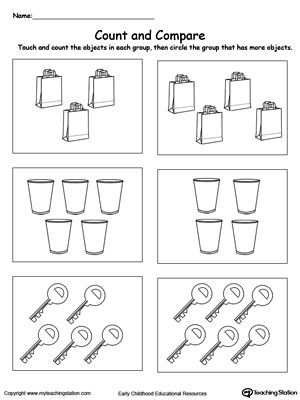count and compare objects numbers counting pinterest kindergarten worksheets. Black Bedroom Furniture Sets. Home Design Ideas