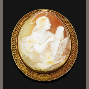 Bonhams 1793 : A Victorian helmet shell cameo brooch, circa 1880 mounted in yellow gold, pearls untested