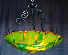 """new 23"""" dome with hand forged iron scroll work . fused and slumped glass artist rick strini-Master bathroom"""