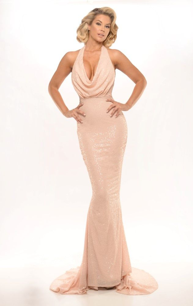 Australian Designer DIAMOND 10 Champagne Sequin Halter Dress ...