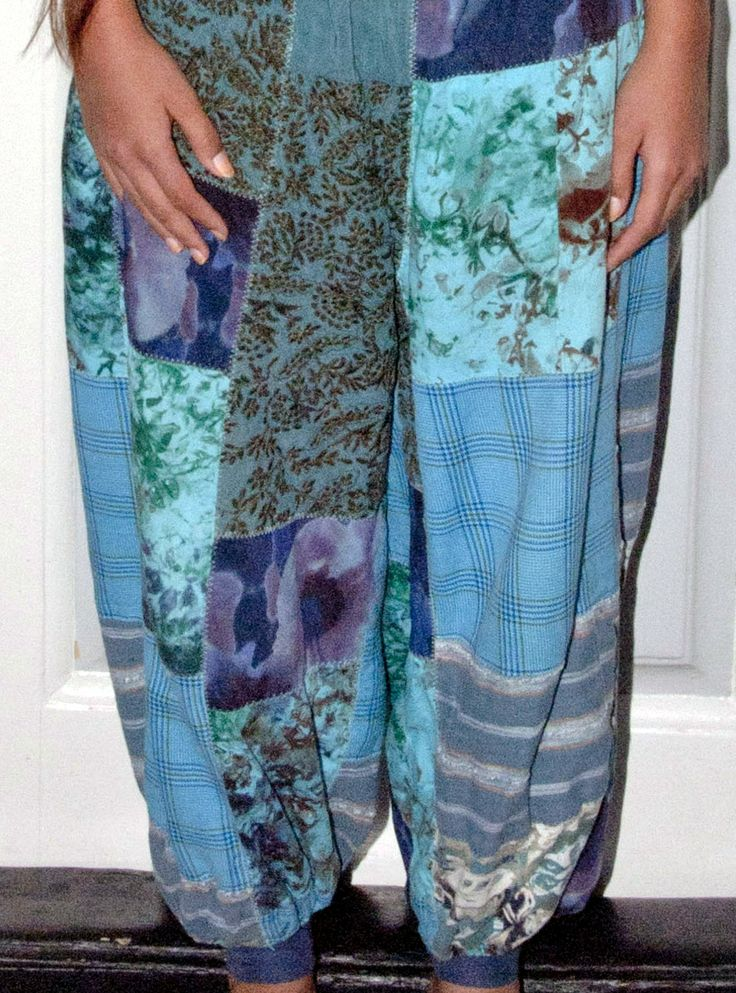 Blue pactwork trousers, wide, made by Naja Abelsen