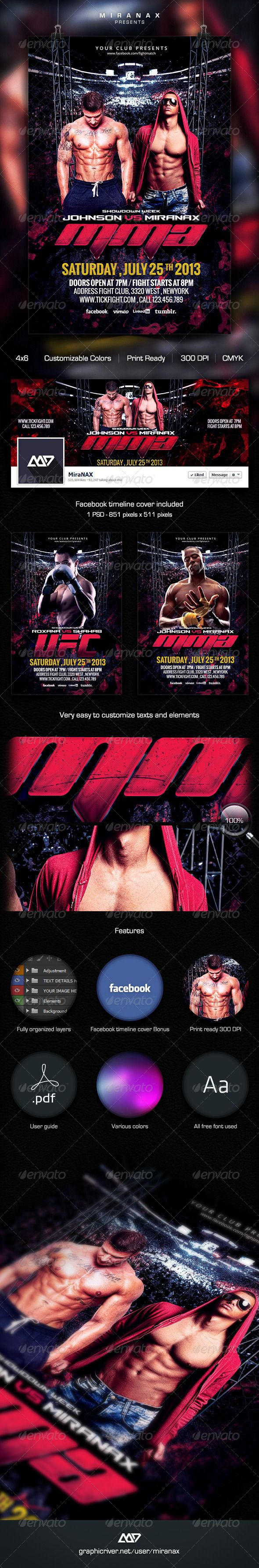 Fight MMA UFC Night Flyer Template – Ufc Flyer Template