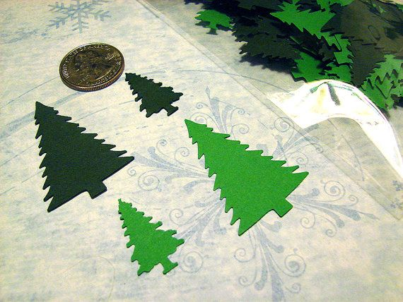 """This listing is for 100 Martha Stewart Winter Christmas Tree punches in two colors. The large tree measures approximately 1.2"""" in high. The small tree measures approximately 1"""" high.  These are punched from acid-free, lignin-free Recollections cardstock."""