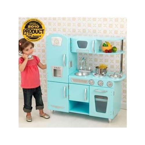 KidKraft Blue Retro Vintage Pretend Play Kids Wooden Kitchen | 53227
