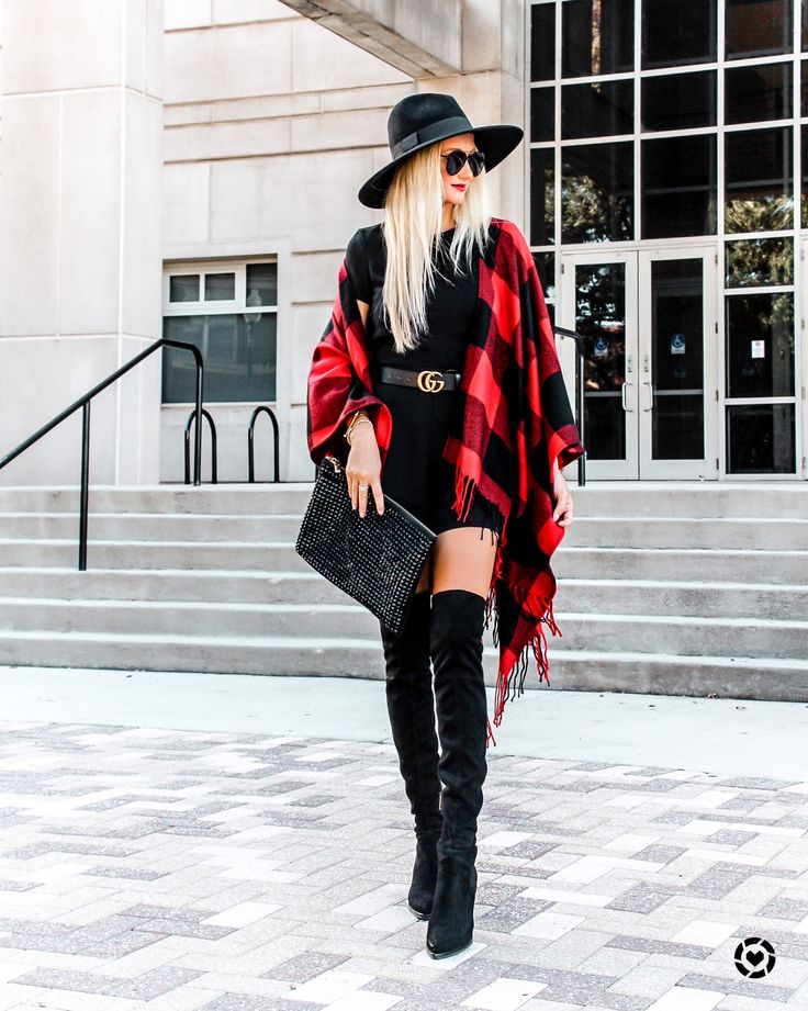 Buffalo plaid / fall outfits / fall fashion / over the knee boots / red and black style