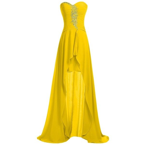 Sunvary Strapless Homecoming Dress Hi-Lo Sweetheart Pleated Chiffon... ($70) ❤ liked on Polyvore featuring dresses, gowns, yellow ball gown, strapless dress, yellow homecoming dresses, yellow evening dress and yellow dress