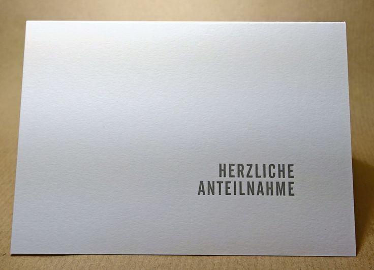 """Trauer & Beileid - Trauerkarte """"Herzliche Anteilnahme"""" und Briefhülle - ein Designerstück von Auflandig bei DaWanda"""