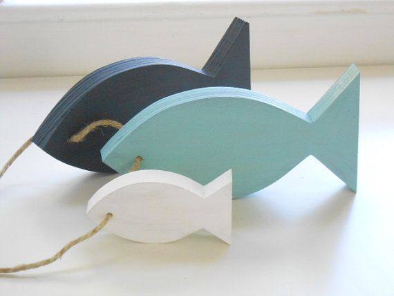 Nautical Home Decor Wooden fish decor for home by TheSeasideKids, $24.00