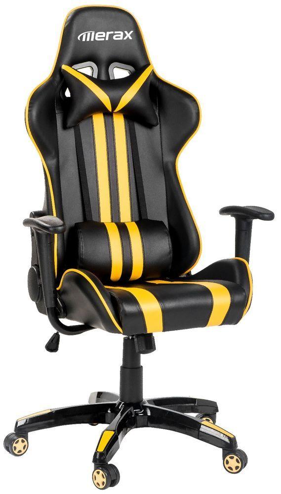 Merax Executive Racing Style High Back Reclining Chair Gaming Chair (Yellow) #Merax #RacingChair