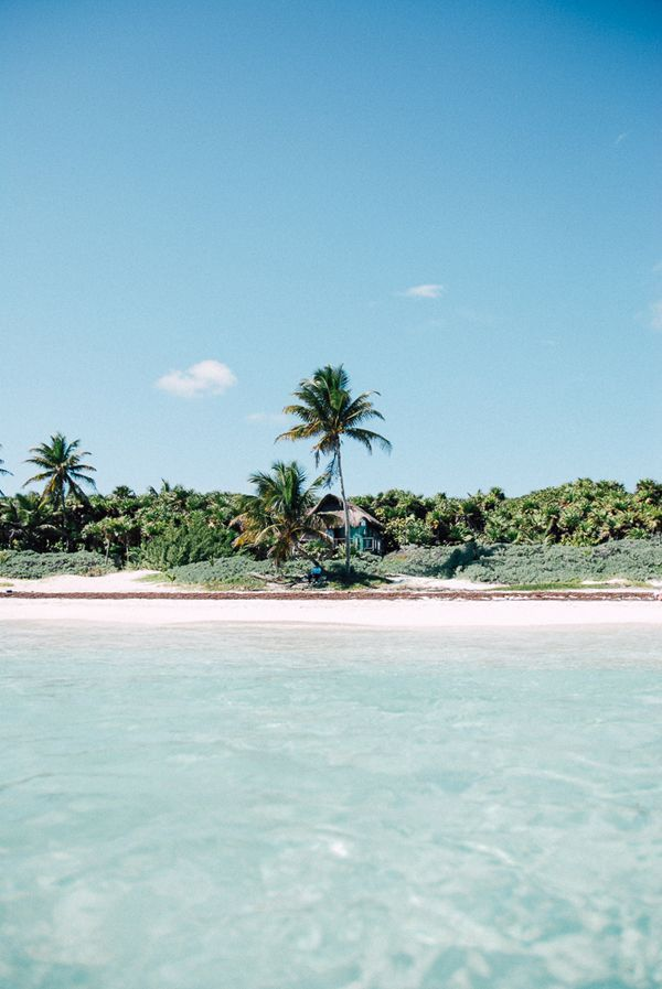beach shacks at the southern end of Tulum beach | Lucy Laucht for LaurenConrad.com