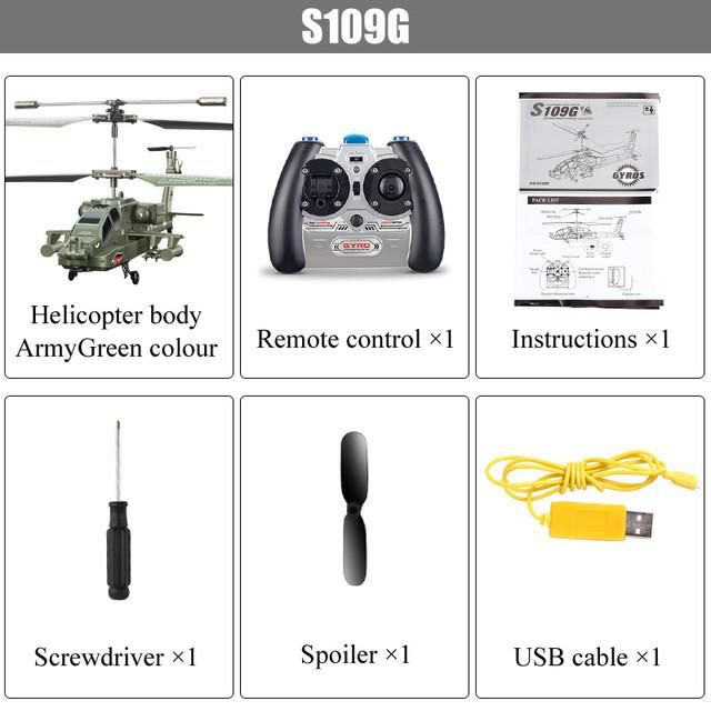 SYMA S109G Mini 3.5CH RC Helicopter AH-64 Apache Helicopter Gunships Simulation Indoor Radio Remote Control Toys for Gift
