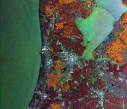 Amsterdam SAR satellite image : Synthetic Aperture Radar (SAR)  Dates of Acquisition: Red: 2 January 2002 Green: 16 August 2000, Blue: 12 May 2004).