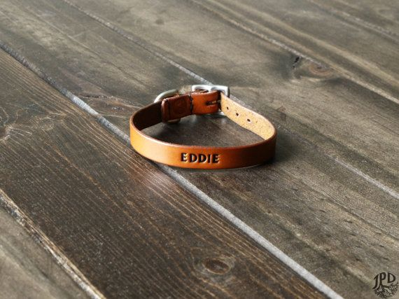 Cat Collar - Personalized Leather Collar - Custom Cat Collar - Engraved ID Collar - Handmade Collar - Small or Large Breed - Rustic, Kitten
