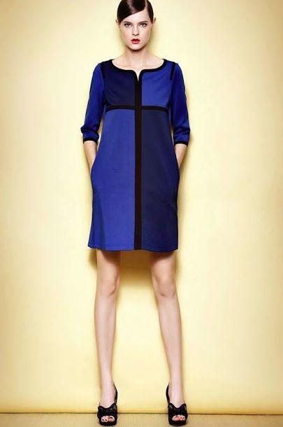 Vestido Bicolor azul