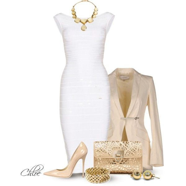 Little White Dress~2 by chloe-813 on Polyvore featuring polyvore fashion style Hervé Léger Borbonese Jimmy Choo Forever New Katheley's Yves Saint Laurent