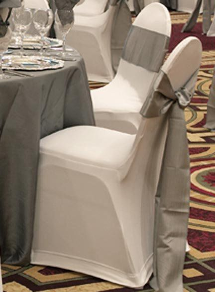 silver chair ties. Maybe silver underskirt for black sparkly table covers that we already have? White with silver ties is pretty too.