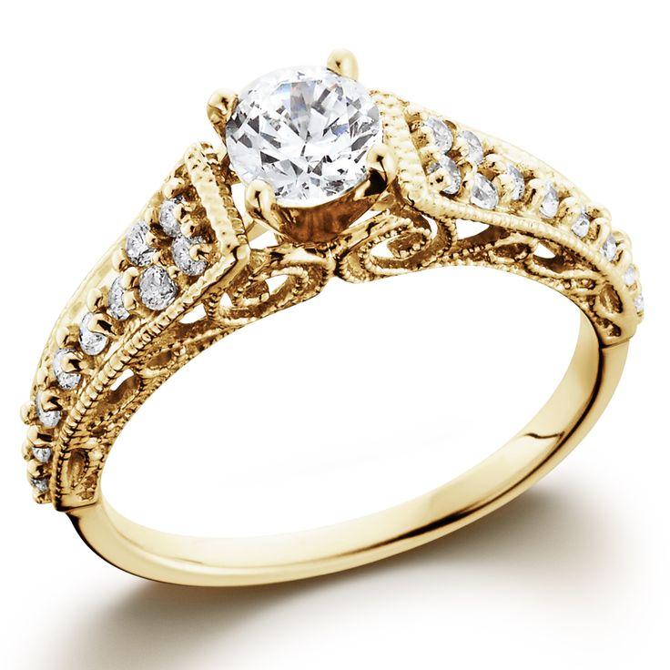 14k Yellow Gold 3 5tdw Vintage Diamond Engagement Ring Size 8