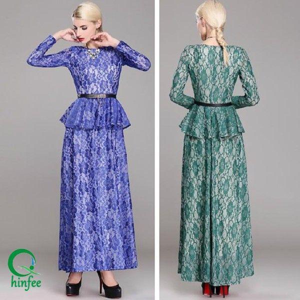D143 Woman Custom Long Sleeve Fashion Maxi Muslim Lace Dress