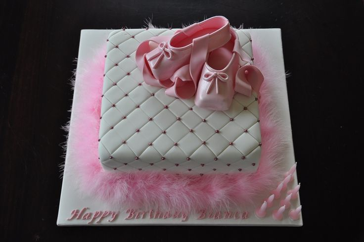 A pretty pink and white ballerina cake.  I was asked to make this cake from a photo so don't know who to credit the original design to