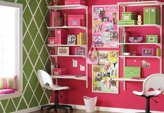 Desk and storage idea. Love it! You don't even need a desk, plus it takes up far less room than a desk! I could even do this in a classroom!