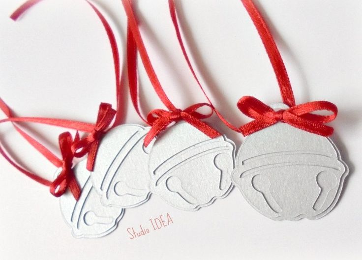 Set of 6 large Silver Jingle Bell Tags, Embellishments with red bow & ribbon- Gift tags, Wrap decor - pinned by pin4etsy.com